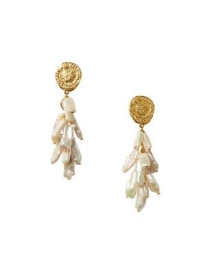 Roma 18K Goldplated & 13-25MM Freshwater Pearl Coin Drop Earrings