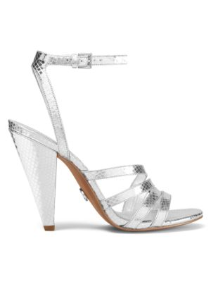 Kimmy Crocodile-Embossed Metallic Leather Ankle-Strap Sandals