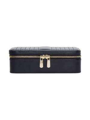 Maria Rectangle Quilted Zip Leather Jewelry Case