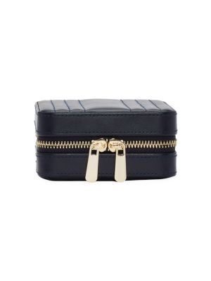 Maria Square Quilted Leather Zip Jewelry Case