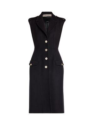Brushed Wool Sleeveless Gilet Dress