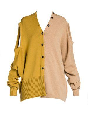 Shetland Colorblock Wool Convertible Cardigan