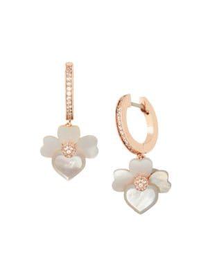 Precious Pansy Mother-Of-Pearl Flower Huggie Hoop Earrings