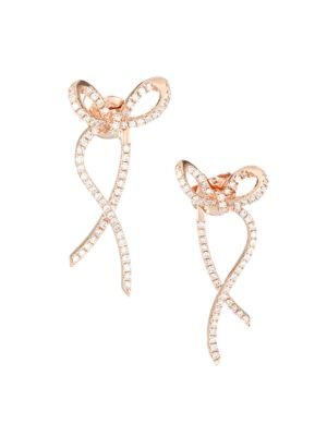 14K Rose Gold & Diamond Ribbon Earrings