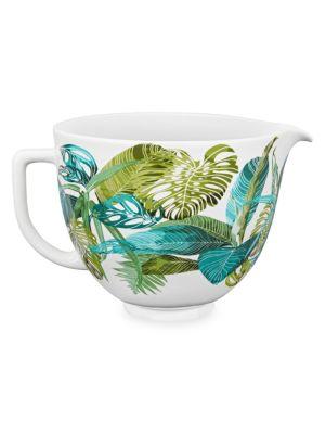 5-Quart Tropical Floral Ceramic Bowl