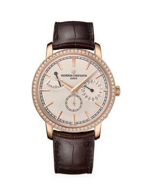 Traditionnelle 18K 5N Rose Gold, Diamond & Alligator Strap Day Display Watch