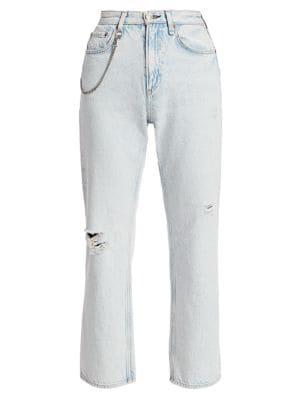 Ruth Super High-Rise Distressed Straight Jeans