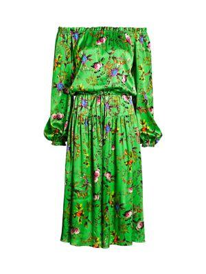 Creek Off-The-Shoulder Floral Stretch-Silk Dress