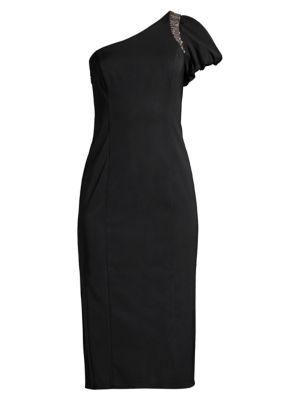 One-Shoulder Beaded Midi Dress