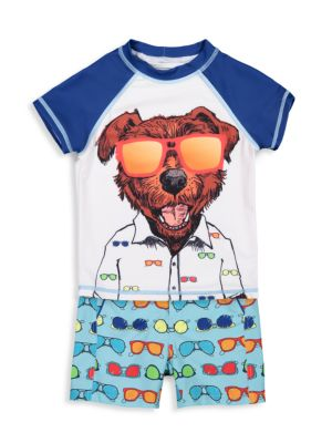 Baby Boy's 2-Piece Dog-Print Top & Shorts Rashguard Set