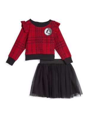 Little Girl's Disney x Pastourelle By Pippa & Julie 2-Piece Sweatshirt & Skirt Set