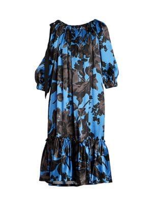 Floral Silk Ruffle-Hem Dress