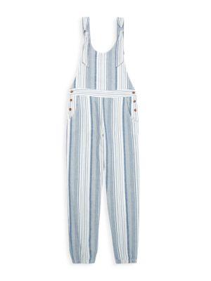 Girl's Sleeveless Striped Jumpsuit
