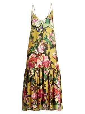 Spaghetti Strap Drop-Hem Floral Midi Dress