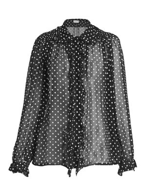 Beaded Silk Polka Dot Blouse