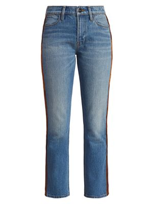 Le High Straight-Leg Paneled Leather Tuxedo Stripe Jeans