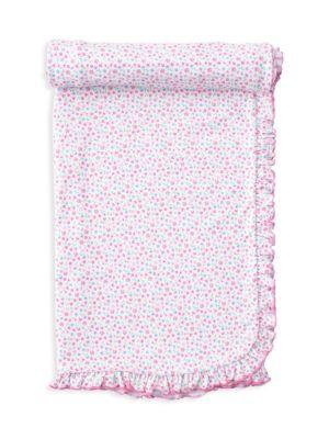 Baby Girl's Flowering Flamingo Floral Ruffle Blanket