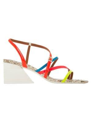 Kelise Neon Snakeskin-Embossed Leather Sandals