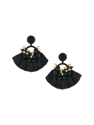 Beaded Raffia Tassel Drop Earrings