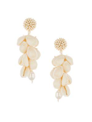Beaded Cowry Shell Cluster Drop Earrings