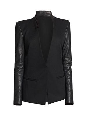 Crux Leather-Sleeved Wool Blazer