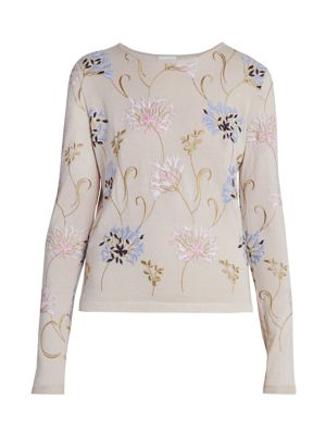 Floral-Embroidered Cashmere & Silk Sweater