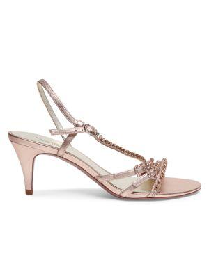 Makenna Embellished Metallic Leather Slingback Sandals