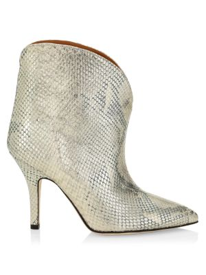 Lamé Python-Embossed Leather Ankle Boots