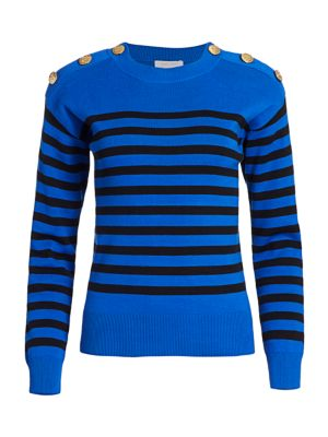 Petite Button-Shoulder Striped Pullover