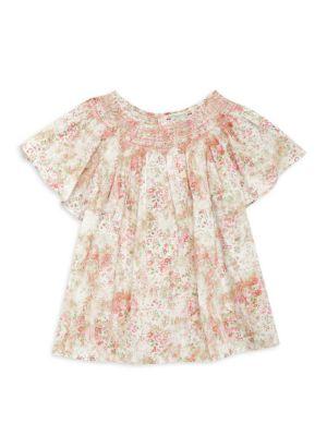 Little Girl's & Girl's Smocked Floral Blouse