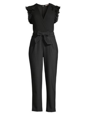Ruffle Rib Tie-Waist Silk & Wool-Blend Jumpsuit