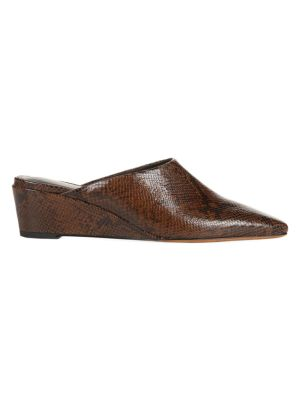 Baxley Snakeskin-Embossed Leather Wedge Mules