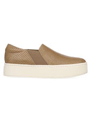 Warren Slip-On Platform Snakeskin-Embossed Leather Sneakers
