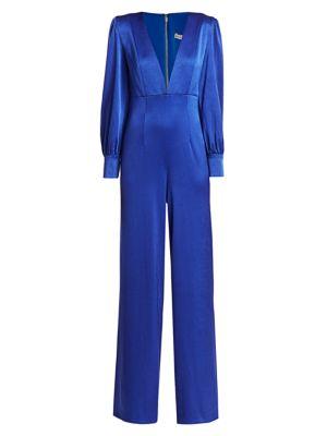 Lisa Puff-Sleeve Plunging Jumpsuit