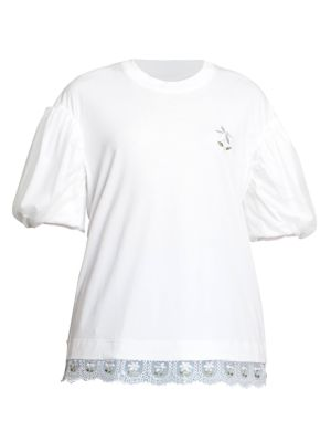 Embroidered Puff-Sleeve Cotton T-Shirt