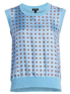 Sakaro Printed Cap-Sleeve Knit Sweater