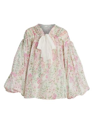 Floral Silk Puff-Sleeve Blouse