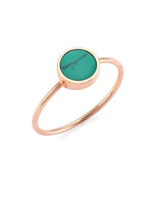 Mini 18K Rose Gold & Turquoise Disc Ring