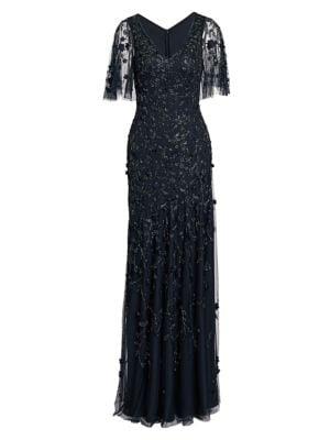 Metallic Beaded Flutter-Sleeve Column Gown