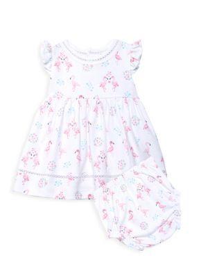 Baby Girl's Flower Flamingo 2-Piece Dress & Bloomer Set