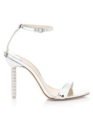 Haley Embellished-Heel Metallic Leather Sandals