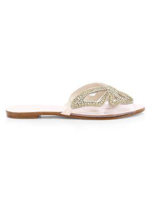 Madame Butterfly Flat Embellished Vinyl & Suede Sandals