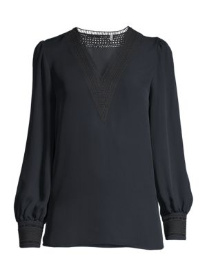Aura Lace Eyelet Silk Puff-Sleeve Shirt