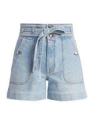 Triple High-Rise Tie-Waist Denim Shorts