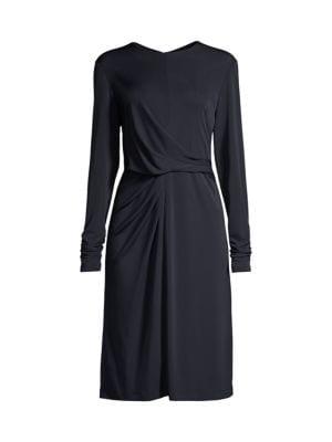 Winda Draped Long Sleeve Dress
