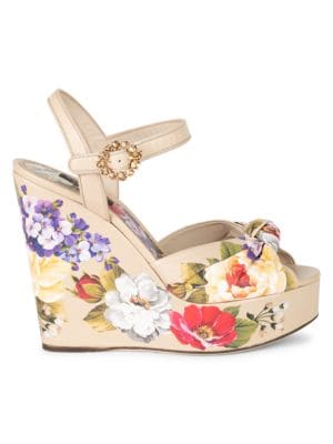 Floral-Print Leather Platform Wedge Sandals