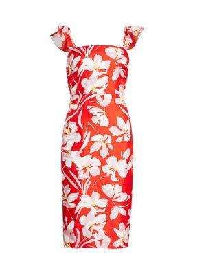 Dayna Hibiscus Print Silk Twill Sheath Dress