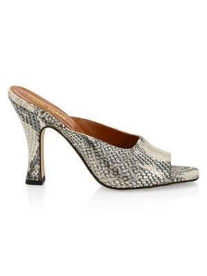 Lamé Python-Embossed Leather Square-Toe Mules