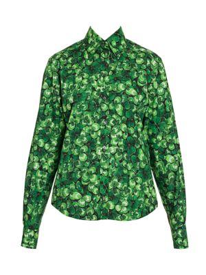 Poplin Clover-Print Button Front Shirt