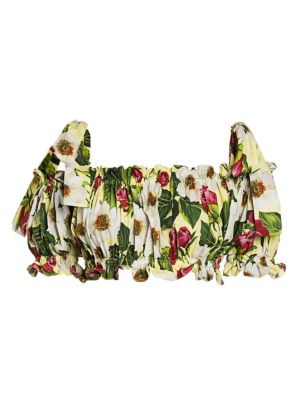 Floral-Print Tie-Shoulder Crop Top